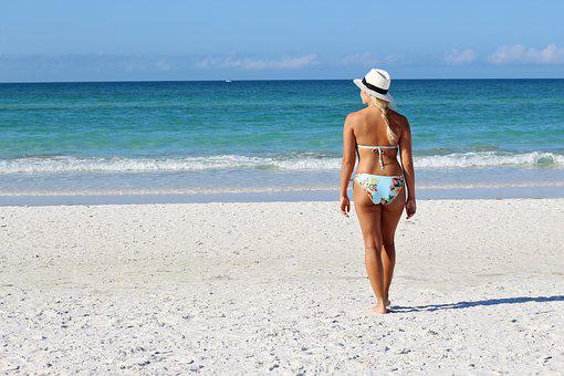 Pretty Girl, Beach, Sea, Ocean, Vacation, Resort