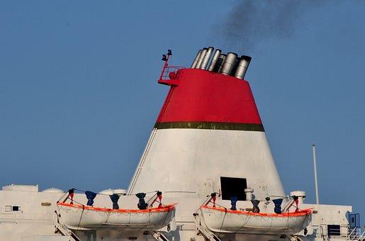 Chimney, Ship, Steamer, Cruise Ship, Ocean, Smoke