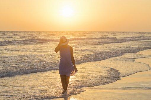 Sunset, Beach Walk, Seaside, Vacation, Ocean, Tranquil