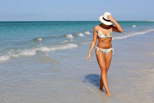 Pretty Girl, Beach, Vacation, Ocean, Sea, Beach Walk
