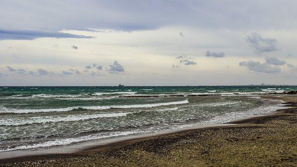 Beach, Sea, Waves, Cloudy, Windy, Scenery, Larnaca