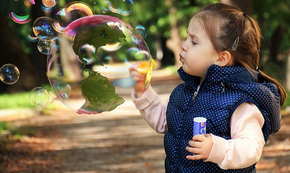 Child, Soap Bubble, Globe, America, World, Play
