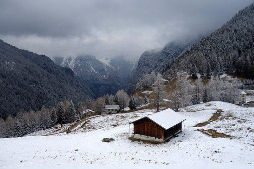 Chalet, Mountain, Snow, Switzerland, Alps, Landscape