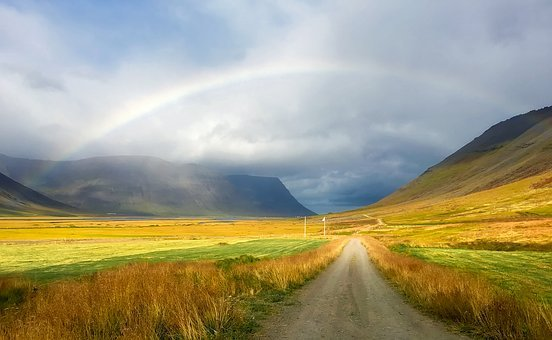 Iceland, Rainbow, Sky, Clouds, Fog, Dirt Road, Tourism