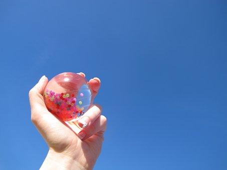 Sun, Sky, Hand, Ball, Summer