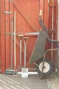 Garden Tools, Hoe, Brush, Spade, Fork, Wheelbarrow