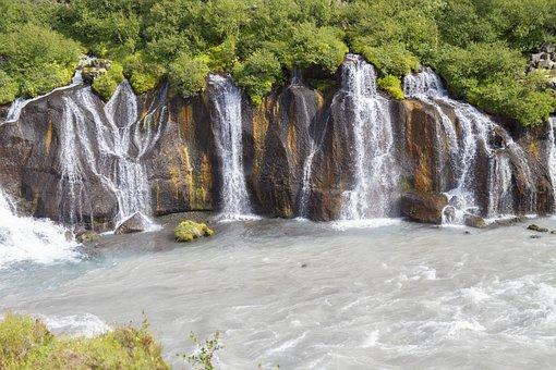 Iceland, Waterfall, Hraunfossar