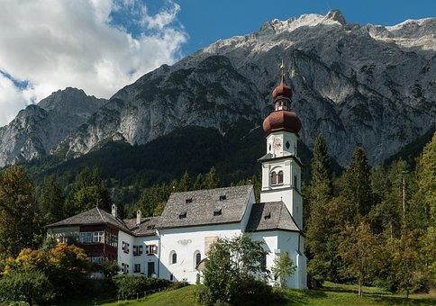 Church, Mountains, Tyrol, Monastery, Grace Forest