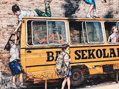 Bus, School, Kids, Students, Parking, Class, Malaysia