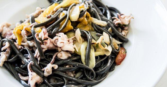 Black Linguine, Seafood, Pasta, Linguine, Black