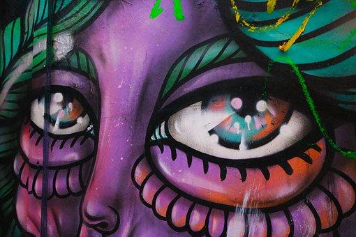 Graffiti, Eyes, Person, Street, Urban, Art, Artwork