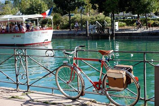 France, Bike, Boat, River, Annecy, Promenade, Sun