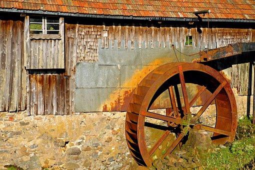 Mill Wheel, Waterwheel, Grind, Energy, Water, River
