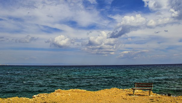 Sea, Horizon, Sky, Clouds, Bench, View Point, Seascape