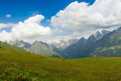 Skies, Georgy, Mountains, Snow, Green, Grass, Europe