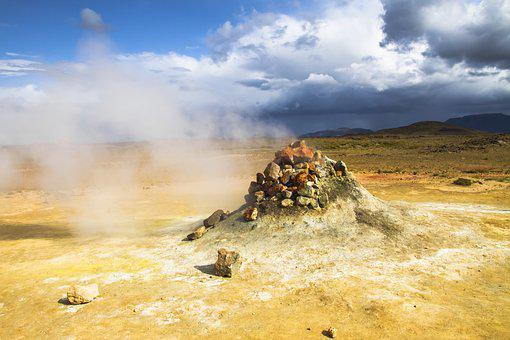 Iceland, Sulfur, Steam, Volcano Area, Heiss, Volcanism