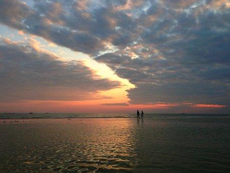 The Sea, Beach, Sunset, Cloud, Horizon, Sea-level Rise