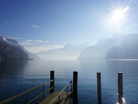 Lake, Fog, Flüelen, Landscape, Water, Nature, Blue