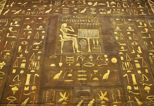 Egypt, Font, Characters, Wall, Gold, Painting