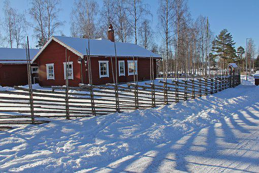Snow, Winter, Cold, Beautiful, Red, Traditional, Wood