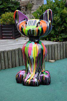 Sculpture, Cat, Colors, Art, Animal, Exhibition