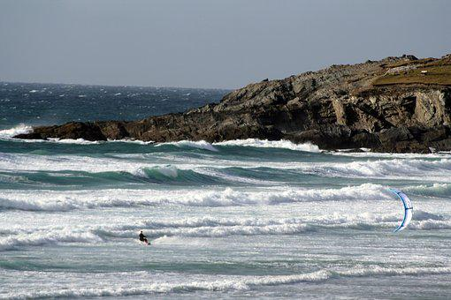Surfer, Windsurfer, Water Sports, Atlantic, Cornwall