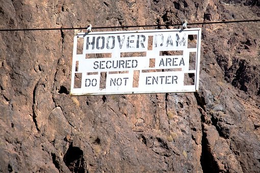 Hoover Dam, Secured Area, Do Not Enter, Sign, Security