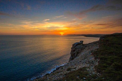 Sunset, Ocean, Panorama, Jurassic Coast, Dorset