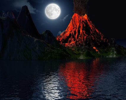 Volcano, Eruption, Moon, Island, Landscape, Mountain