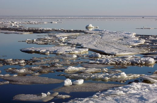 Ice Floes, Finnish, Bay, Ice, Clear, Day, Sunny, Water