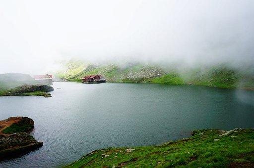 Romania, Fog, Balea, Lake, Fagaras, Mountains, Chalet