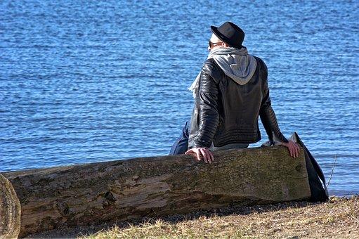 Person, Individually, Man, Sitting, Lake, Alone, Look
