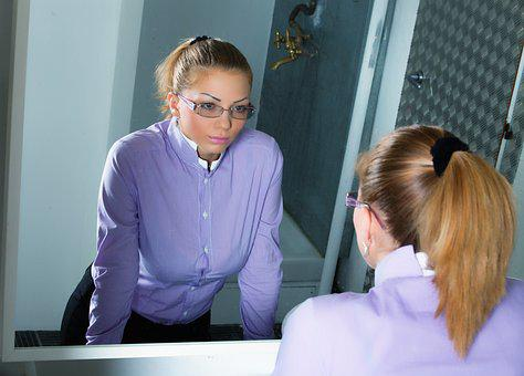 Girl, Woman, Mirror, Reflection, Looking In The Mirror