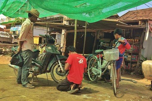 Bicycle, Repairs, Kratie, Cambodia, Maintenance