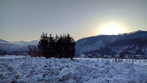 Snow, Morning, Mountain, Wood, Sunrise, Japan, Nagano