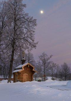 Evening, Winter, Landscape, Nature, Sunset, Trees