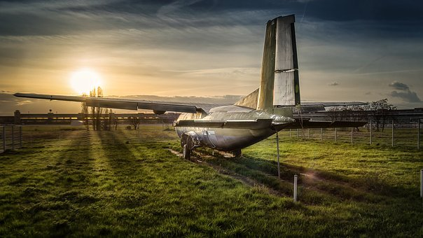 Stop, Aircraft, Tempelhof, Lost Plane, Sunset, Airport