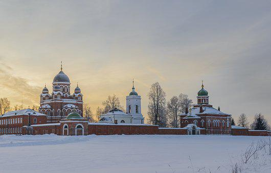 Monastery, Borodino, Landscape, Winter, Sunset, Village