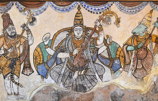 Brihadeeswarar Temple, India, Gods, Painting, Wall