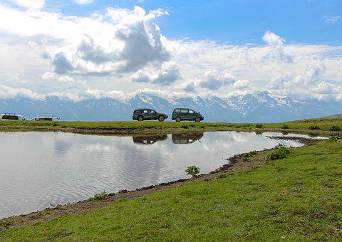 Truck, Jeep, 4x4, Agenda, Nature, Lake, Mountains, Sky