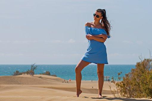 Woman, Beach, Canary Islands, Gran Canaria, Bikini