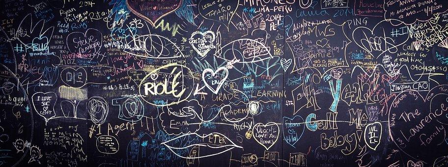 Graffiti, Chalkboard, Blackboard, Love, Hand, Drawn