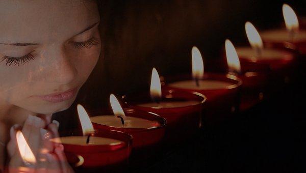 Tea Lights, Girl, Woman, Girl Praying, Praying Woman
