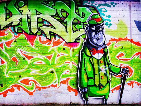 Graffiti, Hat, Human, Decoration, Painted, Wall, Art