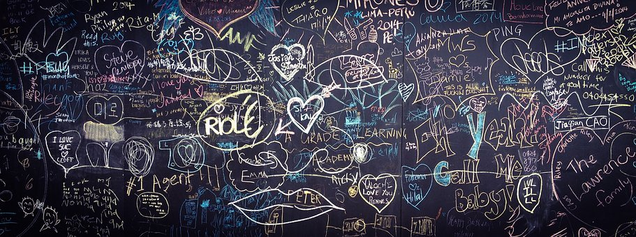 Graffiti, Chalkboard, Blackboard, Love, Hand, Drawn