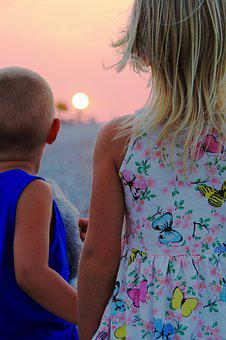 Siblings, Sunset, Child, Happy, Nature, Family, Girl