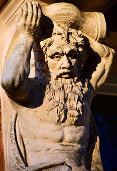 Atlas, Statue, Door, Input, House Facade, Art