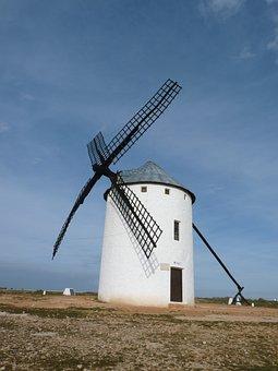 Windmill, Don Quijote Mills, La Mancha, Don, Cervantes