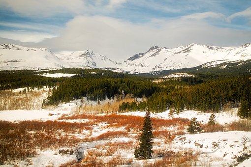 Glacier National Park, Montana, Landscape, Winter, Snow