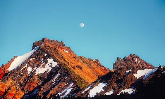 Broken Top, Volcano, Mountain, Moon, Landscape, Oregon
